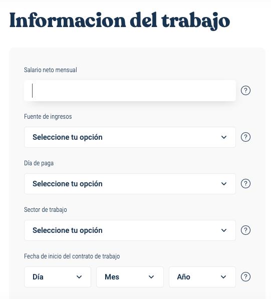 Formulario web - Información del trabajo