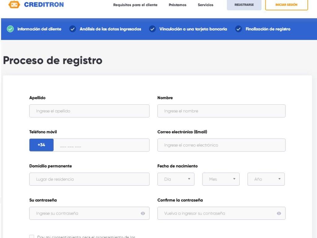 Creditron - Registro
