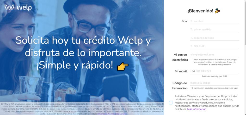 Cómo solicitar crédito Welp